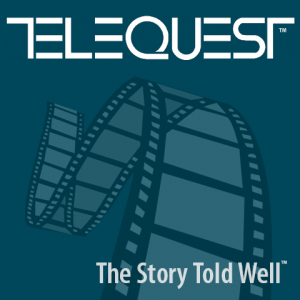 Telequest: The Story Told Well™ (logo and tagline, square)